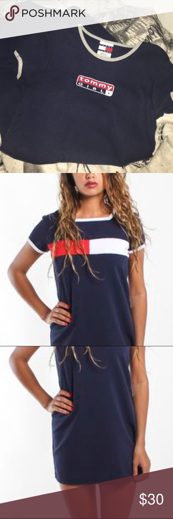 Tommy Girl 90s Vintage Tshirt Dress super cute and stylish. genuine vintage tommy hilfiger. the 2nd and 3rd pic show the dress style and how it lays on. Tommy Hilfiger Dresses