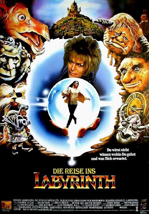 Die Reise ins Labyrinth, 1986, Abenteuerfilm, von Jim Henson; mit David Bowie, Jennifer Connelly, Toby Froud, Shelley Thompson. Die 15jährige Sahra wünscht ausversehen ihren Babybruder Toby zum Koboldkönig Jareth, welcher Toby in einen Kobold verwandeln wird, wenn Sarah es nicht innerhalb von 13 Stunden durch sein Labyrinth zu seinem Schloss in der Mitte, am Rande der Koboldstadt schafft. - Charmant und tolle Botschaft.  Das Puppenspiel von Jim Henson und seinem Team ist phantastisch!
