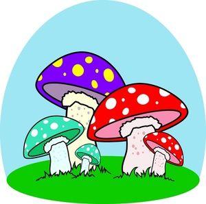 Cartoon Mushrooms | Mushrooms Clipart Image - Colorful cartoon mushrooms in a mushroom ...