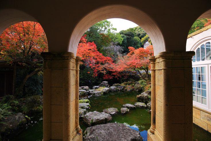 高画質 紅葉 大山崎山荘美術館 写真