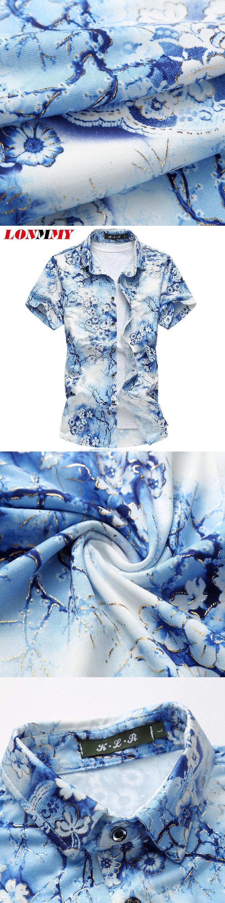 LONMMY PLUS SIZE M-7XL Floral mens silk shirt Mercerized cotton chemise homme flower shirt men Short sleeves mens dress shirts