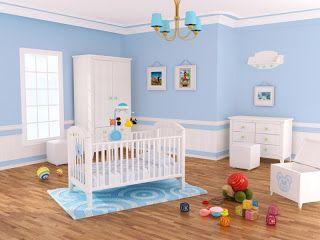 Dormitorio de bebé blanco y celeste
