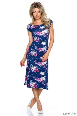 Κοντομάνικο φλοράλ μίντι φόρεμα - Σκούρο Μπλε Πολύχρωμο