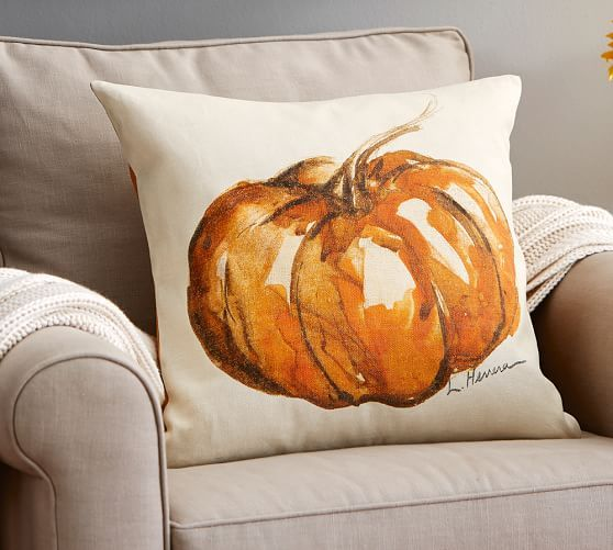 Fall - Autumn Decorating :: Fall Pillow : Painted Pumpkin Patch Pillow Cover, 20"