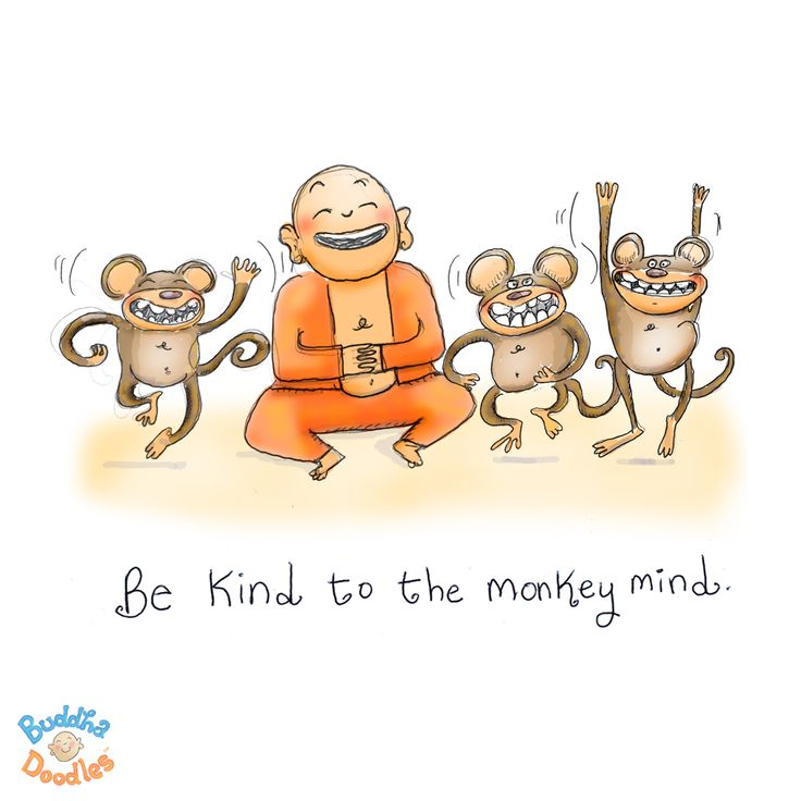 {Today's Buddha Doodle} talk to monkeys ~ Be kind to the monkey mind.