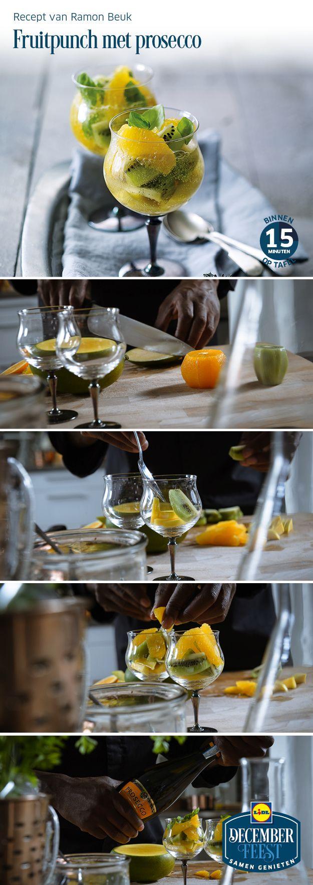 Deze fruitpunch met prosecco is gemakkelijk zelf te bereiden! Meer December Feest recepten ontdekken? Kijk op www.lidl.nl #Lidl #Decemberfeest