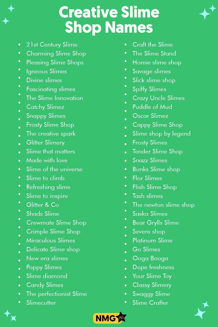 Creative Slime Shop Names Slime Shop Name Generator Shop Name Ideas Name Generator Slime Shops