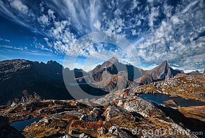 The picture shows the cabin called `Munkebu` at the foot of Mt Munkan in Moskenes Island, in the Lofoten archipelago-