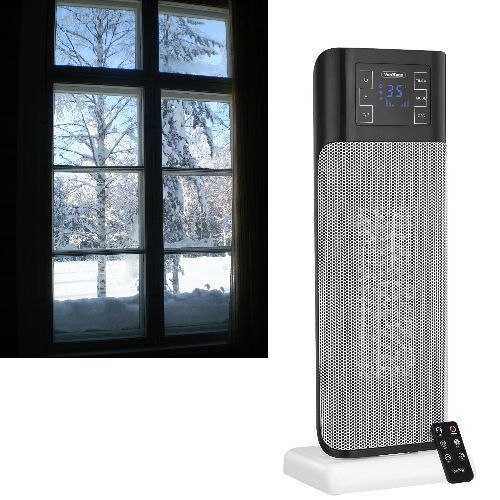 Portable-Electric-Heater-Oscillating-Tower-Fan-Remote-thermostat-Timer-1500W-NEW