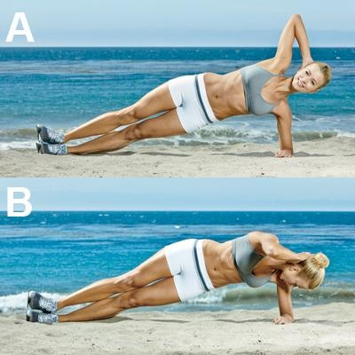 Side-Plank Crunch Lie on your left side with feet stacked. Place left forearm on the ground, elbow under shoulder, and right hand behind head. Raise hips until body is aligned from feet to shoulders [A], then rotate right shoulder to the right, crunching toward the ground [B]. Reverse motion to return to starting position (left hip on the ground). Switch sides halfway through set.