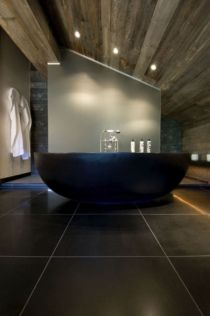 Black Rustic Bathroom Vanity: Bold Rustic Can Looks Modern To With Big Tile Floors And