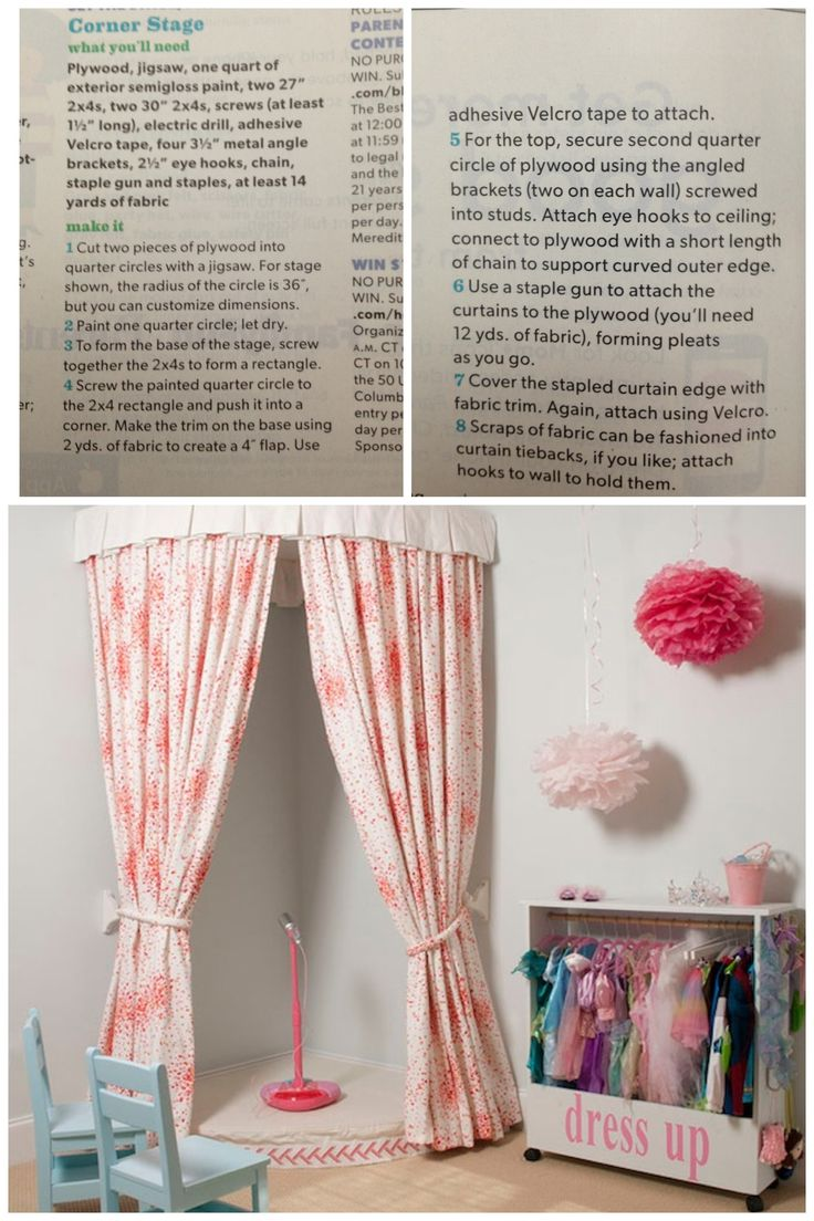 Cute idea for the playroom, especially since daddy is an actor! Have red velvet curtains and a bunch of costumes from discount stores and after halloween towns