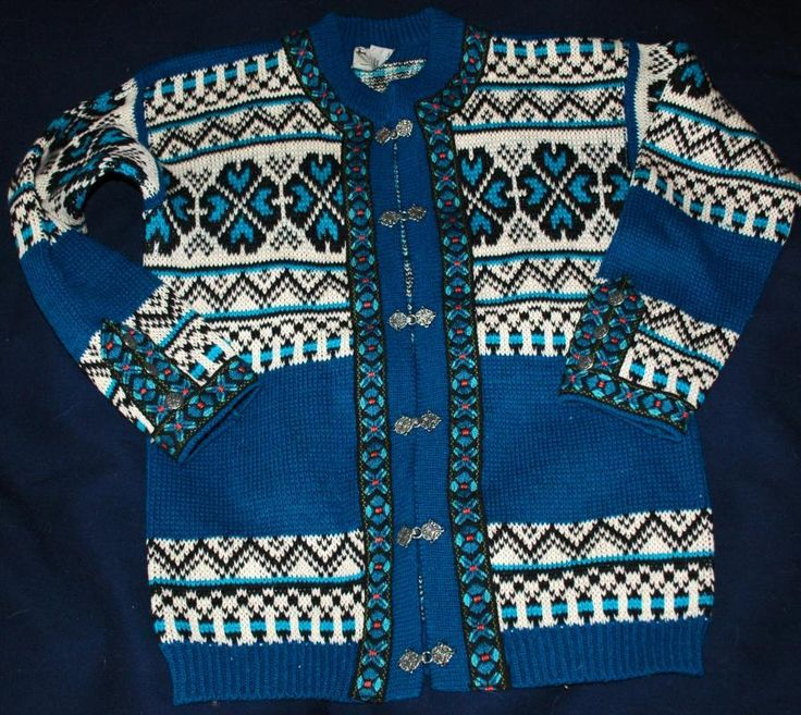 Norwegian Cardigan Sweater Gann Sporty 100% Wool, Blue/ White Pewter Toggles with Embroidered Trims