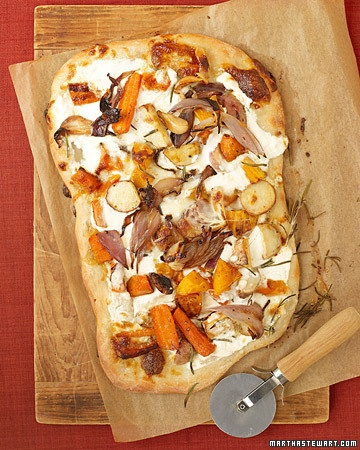 roasted vegetable and ricotta pizza.
