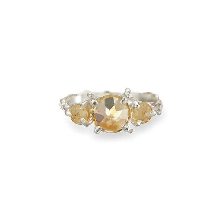 Chupi Tiny Twinkle In The Wild Citrine Ring in Silver