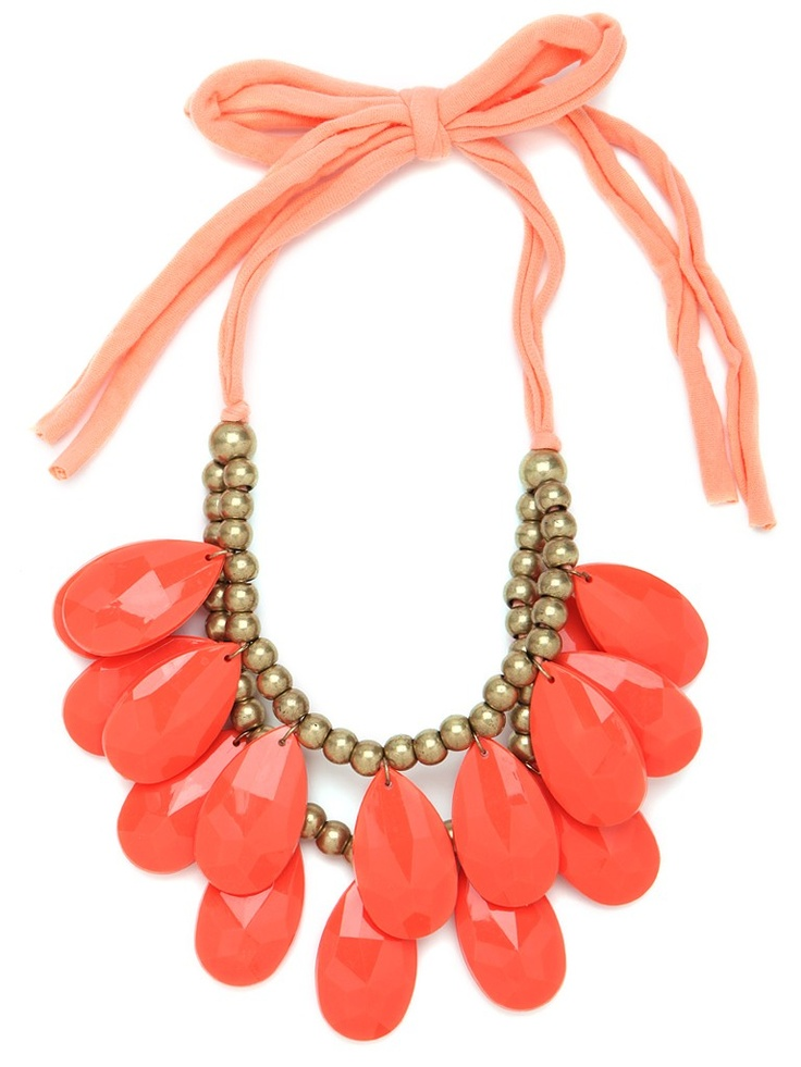 i love mine, in pearls and pink quartz... i love this one in gold and coral, too!!!: Baubles Bar, Statement Necklaces, Summer Colour, Tangerine Teardrop, Teardrop Bibs, Bubbles Necklaces, Accessories, Statement Jewelry, Bibs Necklaces