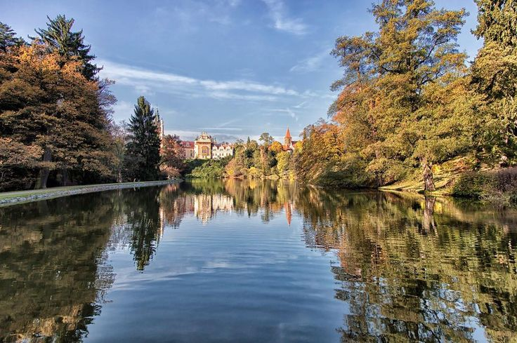 Pruhonice. A small enchanted chateau in the botanical gardens of Pruhonice just on the outskirts of Prague. Czechia. This is where you can breathe poetry. #pruhonice #praha #chateau #fall #pond #enchanted #beautiful #gardens #fairytale #reflections #share
