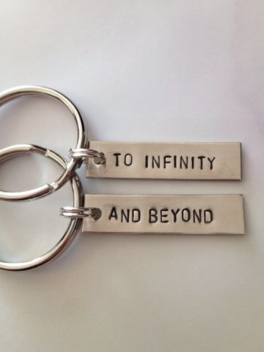 "Cheesy Cute Girlfriend Gifts:  ""To Infinity"" & ""And Beyond"" Couples / Best Friends Keychains (set of 2) by Dalilice Queen @ Etsy"