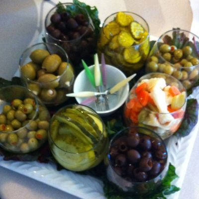 Relish Tray, with stemless wine
