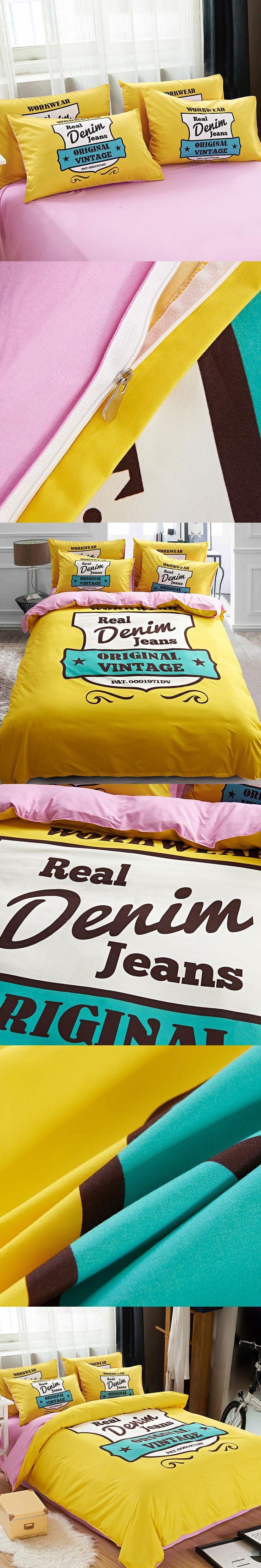 Simple Cotton Bedding Set Lemon yellow Bed Set duvet cover and sheet 4pcs Home Breathable Smooth  bedding sets 4-Pcs
