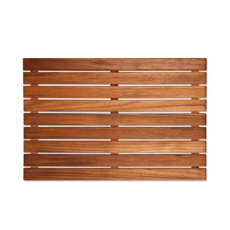 A simple teak bathmat gives your bathroom an instant spa upgrade. Though it's wood, it dries quickly thanks to its raised design.  Find the Ouray Spa Mat, as seen in the Vintage Industrial Bath Collection at http://dotandbo.com/collections/vintage-industrial-bath?utm_source=pinterest&utm_medium=organic&db_sku=92333