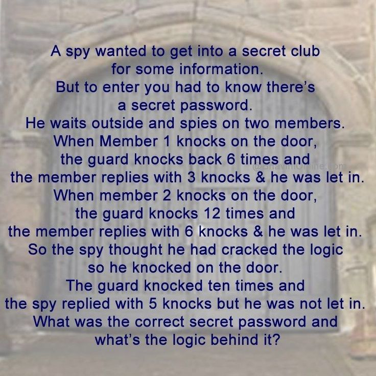 Logical Riddle What is the Correct Password to enter the
