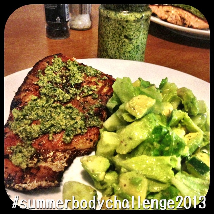 Tonight's dinner: Salmon fillets marinated in Cajun spices & Thyme topped with my own homemade Coriander & Cashew Pesto served with a salad of Cos lettuce, avocado, cucumber, vinegar & lemon juice.   Pesto recipe is from the @I Quit Sugar recipe book.  #31daytransformation #sugarfreejune #nomnomnom #summerbodychallenge2013 #crapfree