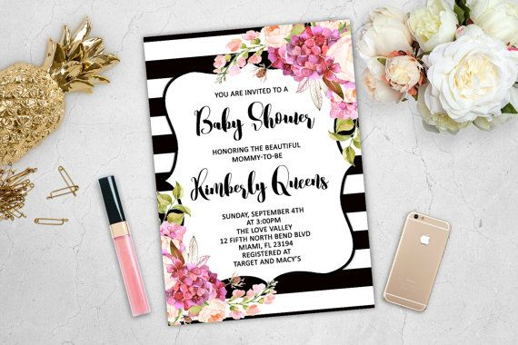 Black and White Baby Shower Invitation Pink White Spade Stripes Flowers Floral Sparkle Girl Printable Invite Digital Download Modern Peonies