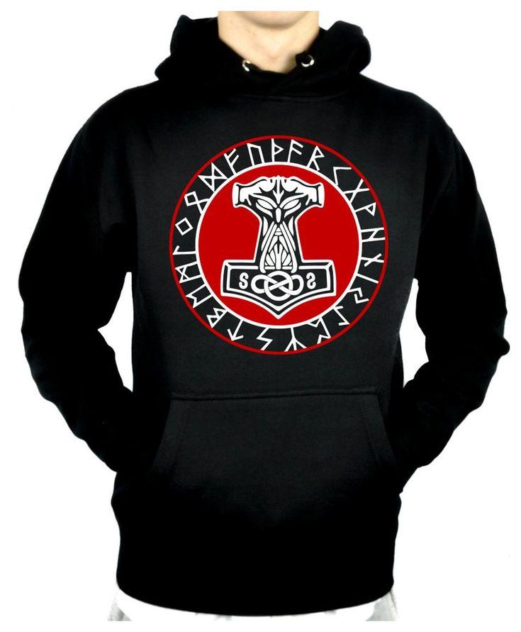 25 mejores imgenes en unisex men women clothing en pinterest norse mythology odin viking pullover hoodie sweatshirt clothing mjolnir hammer gumiabroncs Images