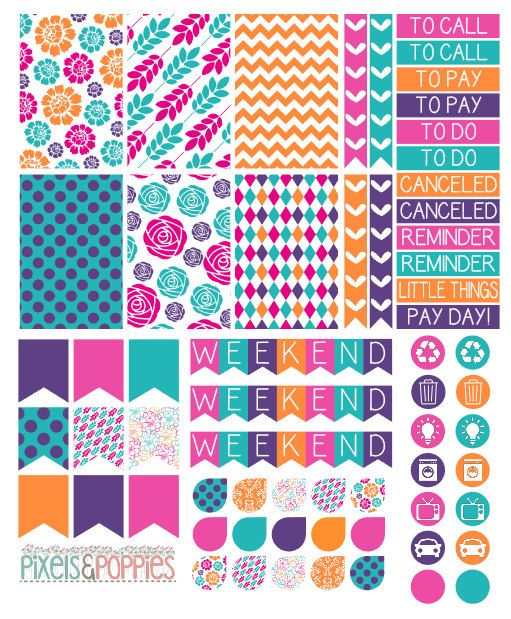 Purple and orange themed planner