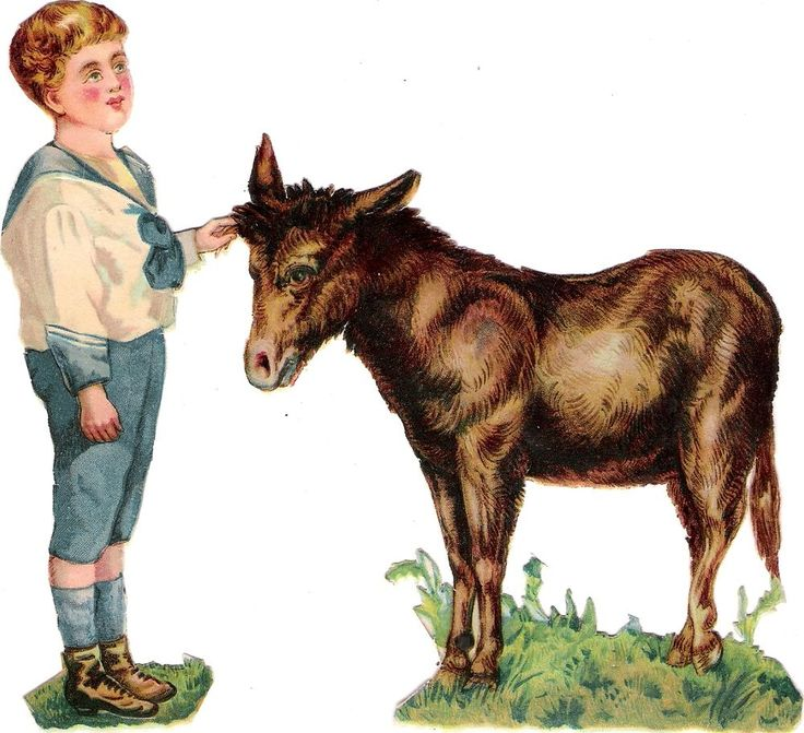 Oblaten Glanzbild scrap die cut chromo Kind child  15cm  Esel donkey