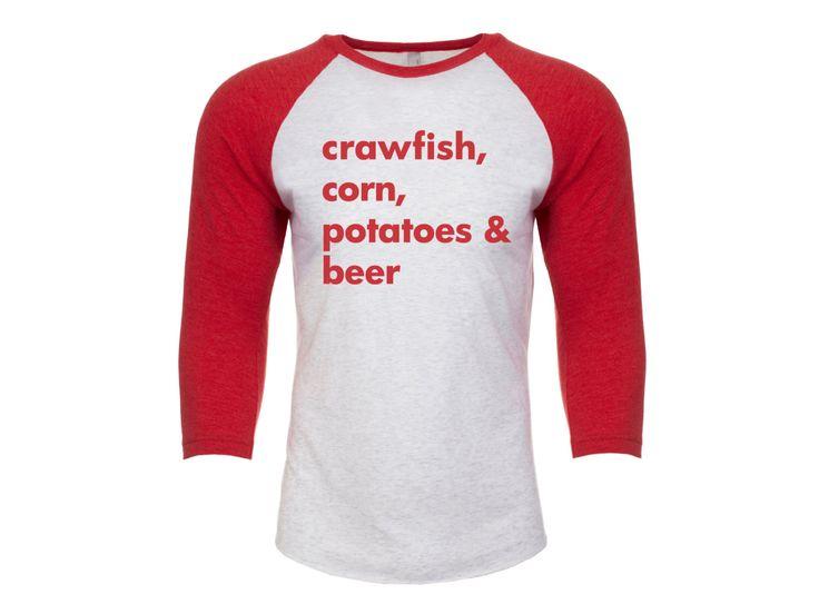 Crawfish Shirt, Crawfish Season, New Orleans Shirt, NOLA Shirt, Crawfish Baseball Tee, Gift, Crawfish Season Shirt, Red Shirt by alwayslovenola on Etsy https://www.etsy.com/listing/267236026/crawfish-shirt-crawfish-season-new