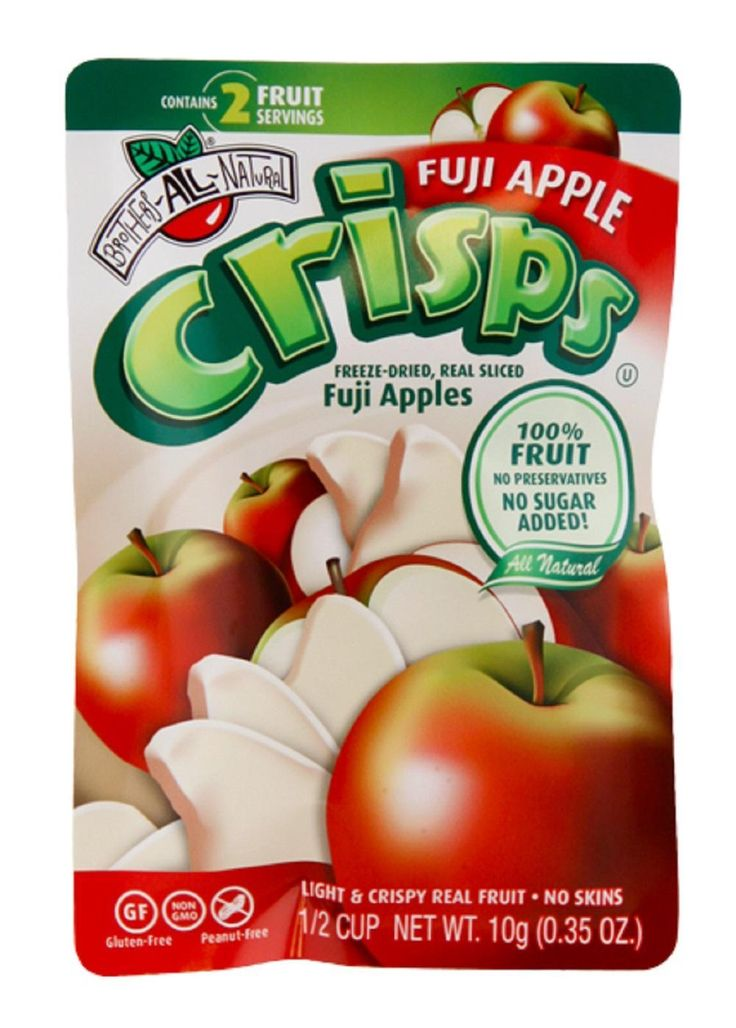Fuji apples are a large, sweet, and crisp apple variety that makes them a favorite of fruit lovers around the world. Brothers All Natural Freeze Dried Fuji Apple Fruit Snacks are packaged for convenient, healthy snacking, each pouch is portioned to contain two full servings of fruit!