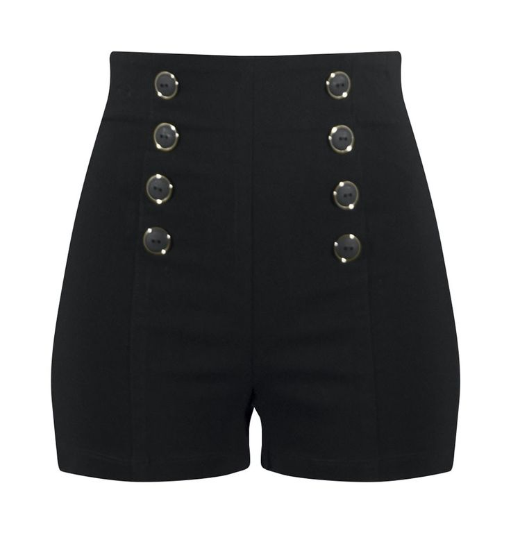 High Waisted Pin Me Up Shorts - Black