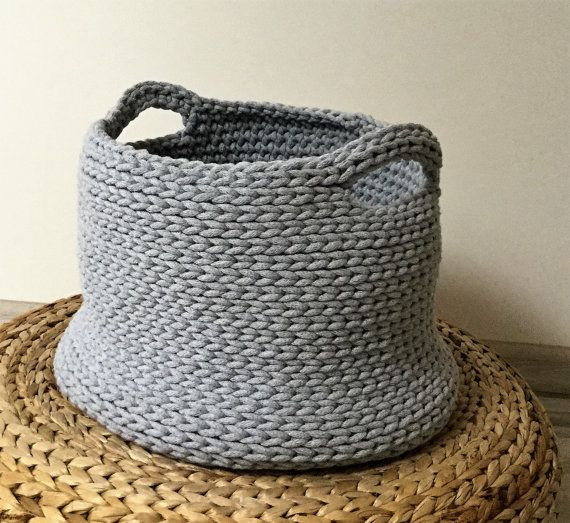 Basket Toy Large Crochet Basket   Toy Storage by justknitted1