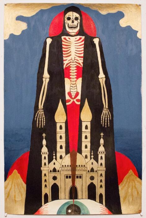 alexanderheir: Gold Skeleton, acrylic on paper. 2011.