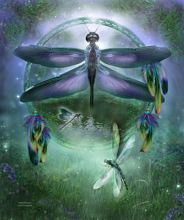 DC_Wind Dancer by Carol Cavalaris. Prints available at Fine Art America. Dragonfly you dance upon the wind a spirit so joyful and free living in the moment bringing happiness good luck and harmony.  Wind Dancer prose by Carol Cavalaris  This painting of a purple dragonfly within a dream catcher is from the Dream Catcher Collection of art by Carol Cavalaris.