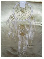 Peace, Harmony Dream Catcher: A delicate cream colour dream catcher with enhanced with amazingly attractive white feathers and opalescence beads throughout the web, measuring 15cm in diameter.     Absolutely stunning and pure!!