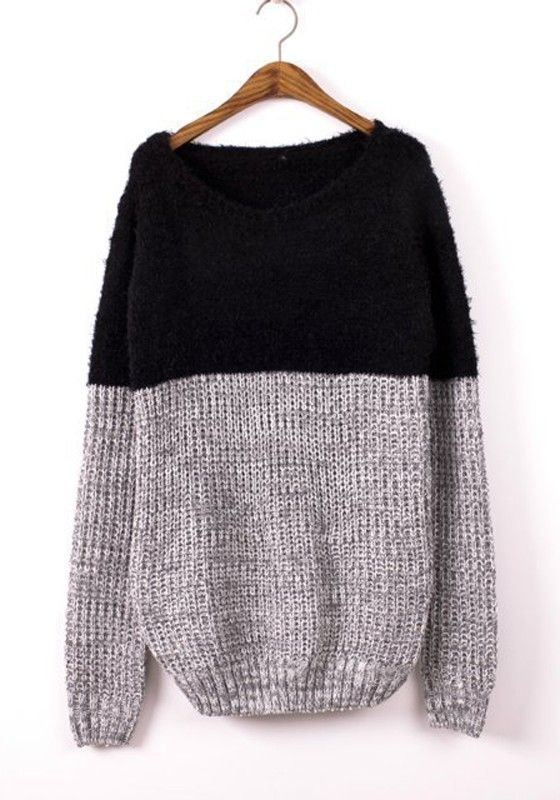 COLOR BLOCK SWEATER Black Patchwork Print Round Neck Cotton Blend Sweater