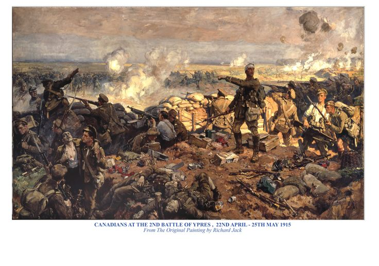 British; Canadians at the Second Battle of Ypres, 22nd April- 5th May 1915. From the original painting by Richard Jack