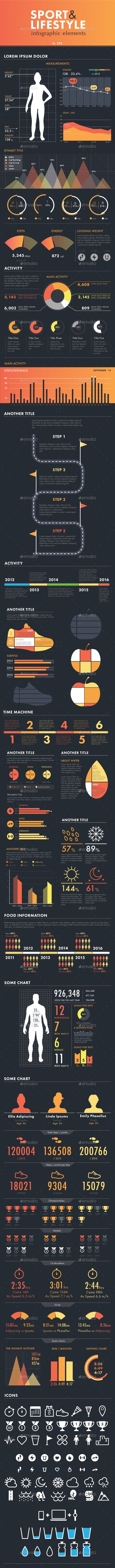Sport & Lifestyle Infographic Template Set. Download here: http://graphicriver.net/item/sport-lifestyle-infographic-set/15100152?ref=ksioks
