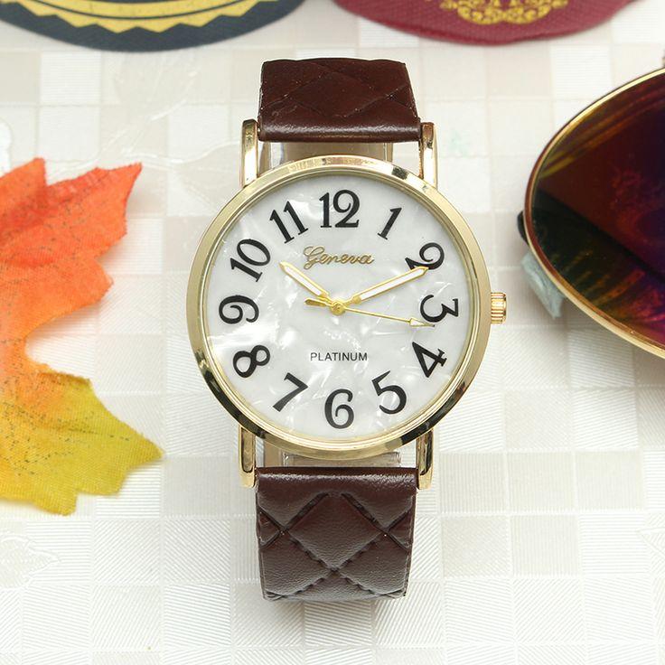 Casual Fashion Diagonal Plaid Band Gold Color Case Watch