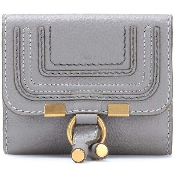 Chloé Marcie Leather Wallet ($535) ❤ liked on Polyvore featuring bags, wallets, grey, grey leather wallet, chloe wallet, gray bag, chloe bag and leather bags