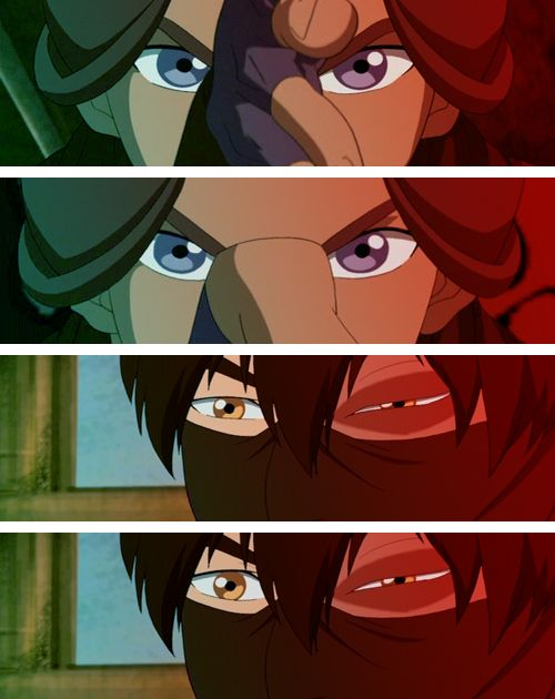 The Southern Raiders - Amazing animation and story telling without words. The moment when Zuko realizes just how powerful Katara is. With the many times he fought her, and made her mad, he realizes he never made her THAT mad. So furious that she could use her power to take over his body. I think he respected her so much more after this. The other scene from this episode is where she STOPS the rain from falling, and his eyes widen, and he takes the mask off his face.