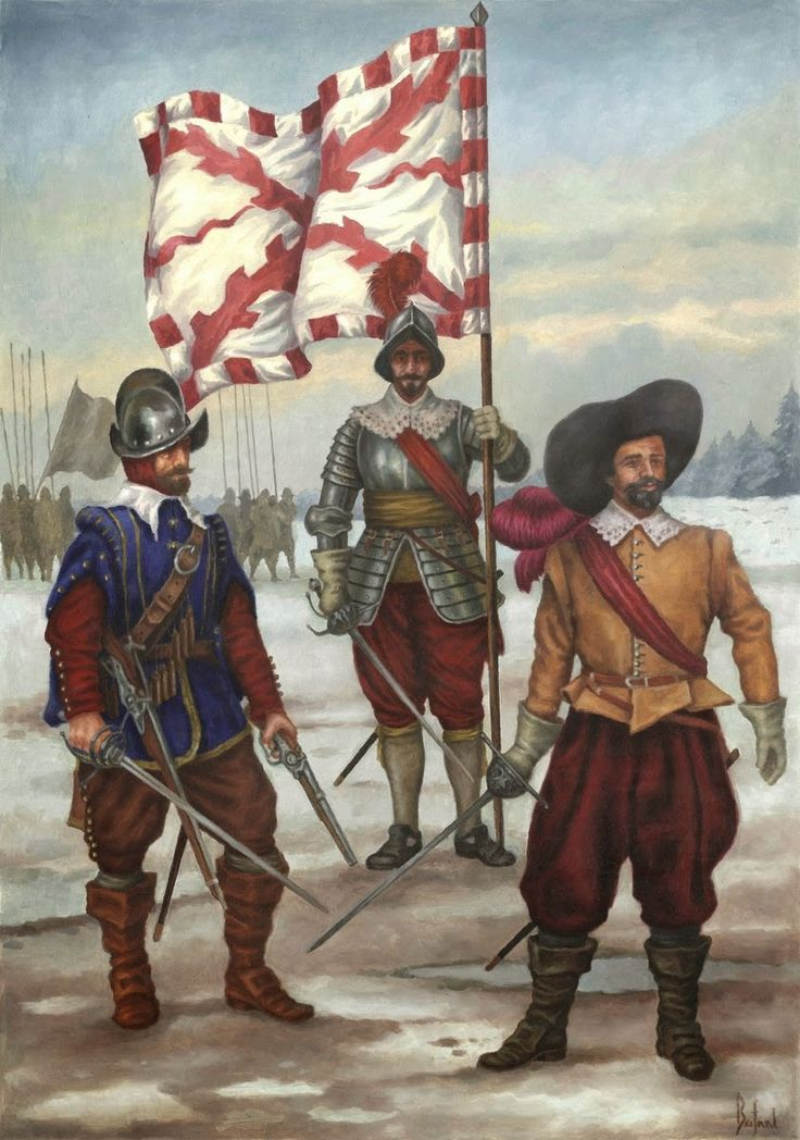 Spanish soldiers from the period of of the Battle of Tuttlingen 1643. Dragon, standard- bearer, pikeman.