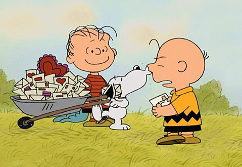 Snoopy has to wheelbarrow his Valentines Cards home, while Charlie Brown only got one