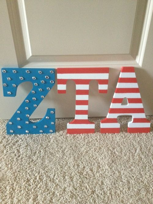 THIS!!! but in AST!: Cutest Sorority, Zeta Tau, Flag Letters, Crafty, Sorority Crafts, American Flag, Craft Ideas, Sorority Letter