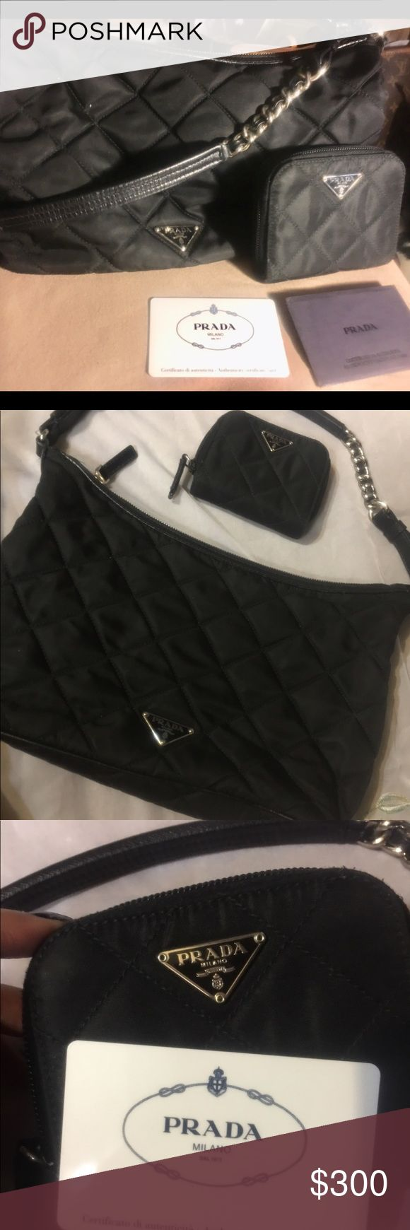 🌺Quilted Prada purse and matching wallet🌺 💯 authentic 🌺Quilted prada purse with matching wallet In excellent condition. No rips. Zippered pocket on inside purse shows the little white tag that is on all real prada. Authentication card is for the wallet🌺 Prada Bags Shoulder Bags
