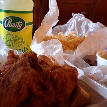 Prince's Hot Chicken Shack - Nashville, TN, United States. Breast and wing.   Fries and coleslaw.