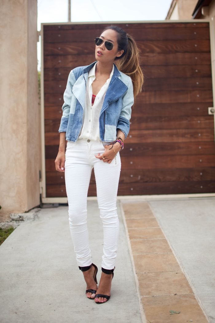 White on White and Patchwork Denim Jacket: Patchwork Jackets, Jeans Jackets, Style Inspiration, Patches Jeans, Denim Jackets, Songs Of Style, White Jeans, Denim Patchwork, Street Chic